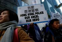 Banner in support of Hong Kong police