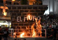 Mock US-Mexico border wall set ablaze
