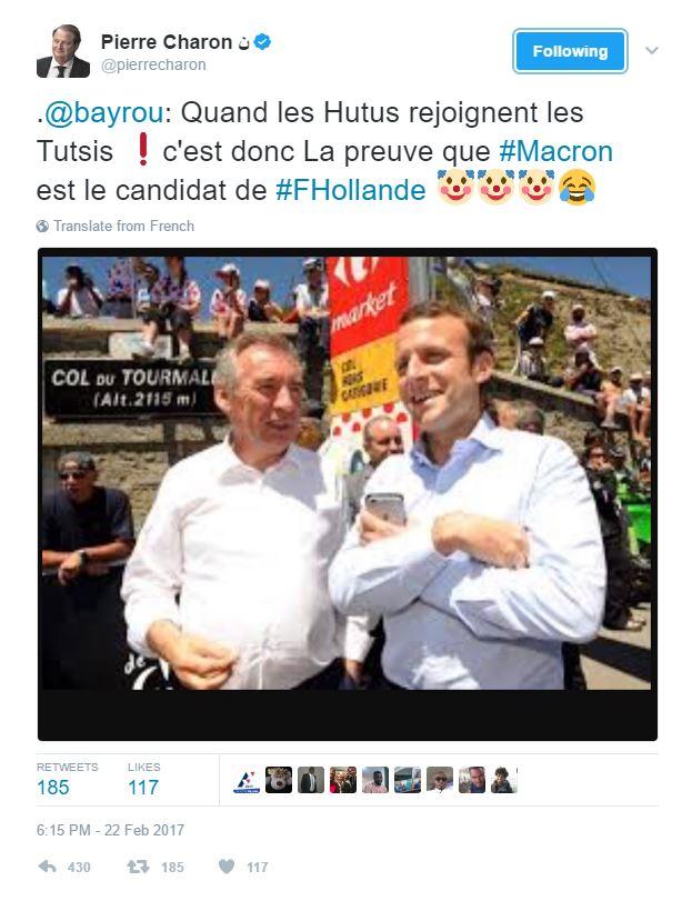 Senator Pierre Charon's Tweet
