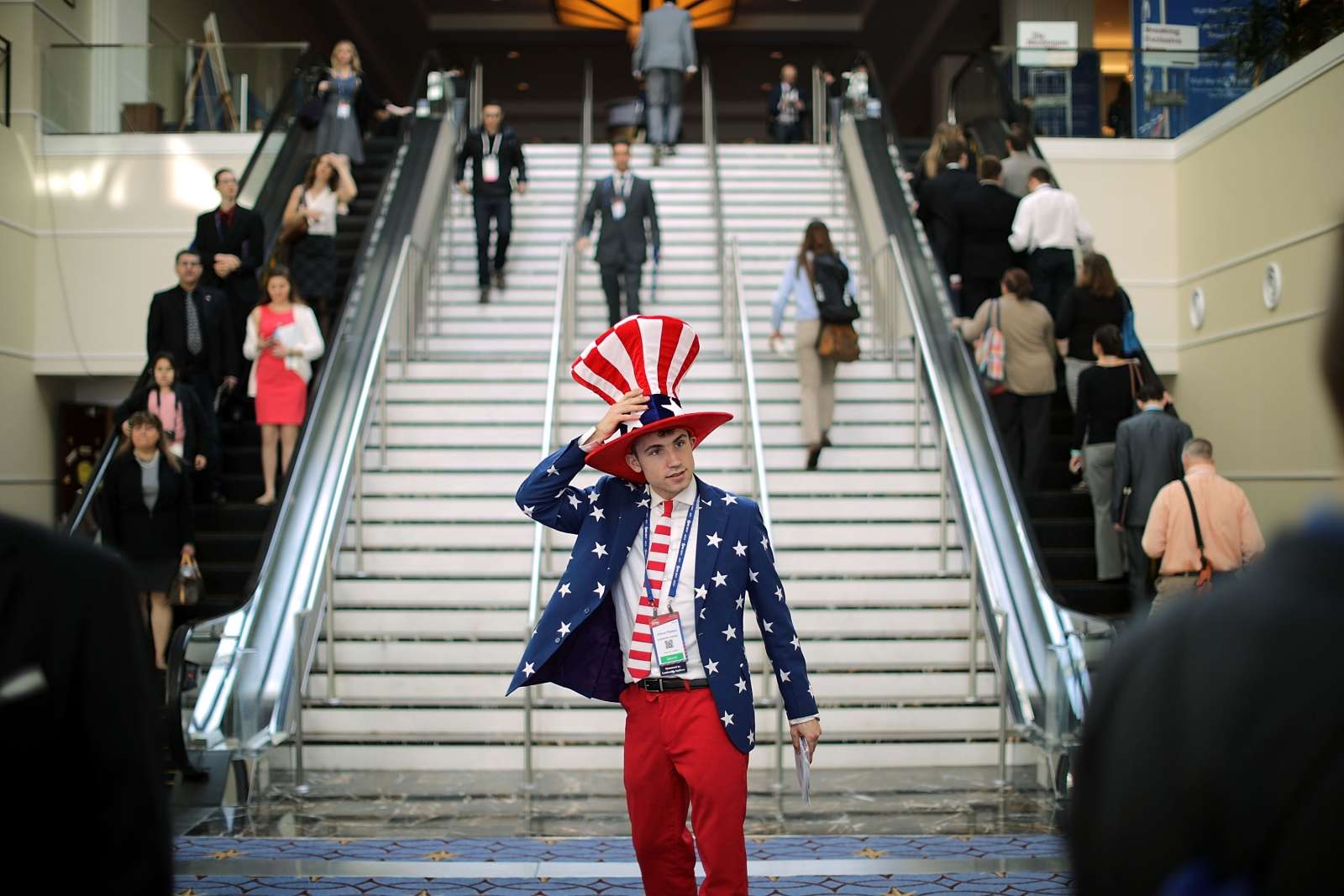 American flag man at CPAC