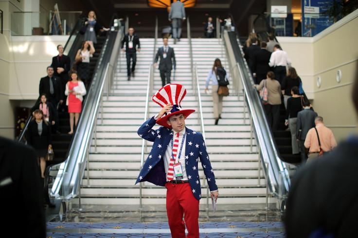 American flag man at CPAC