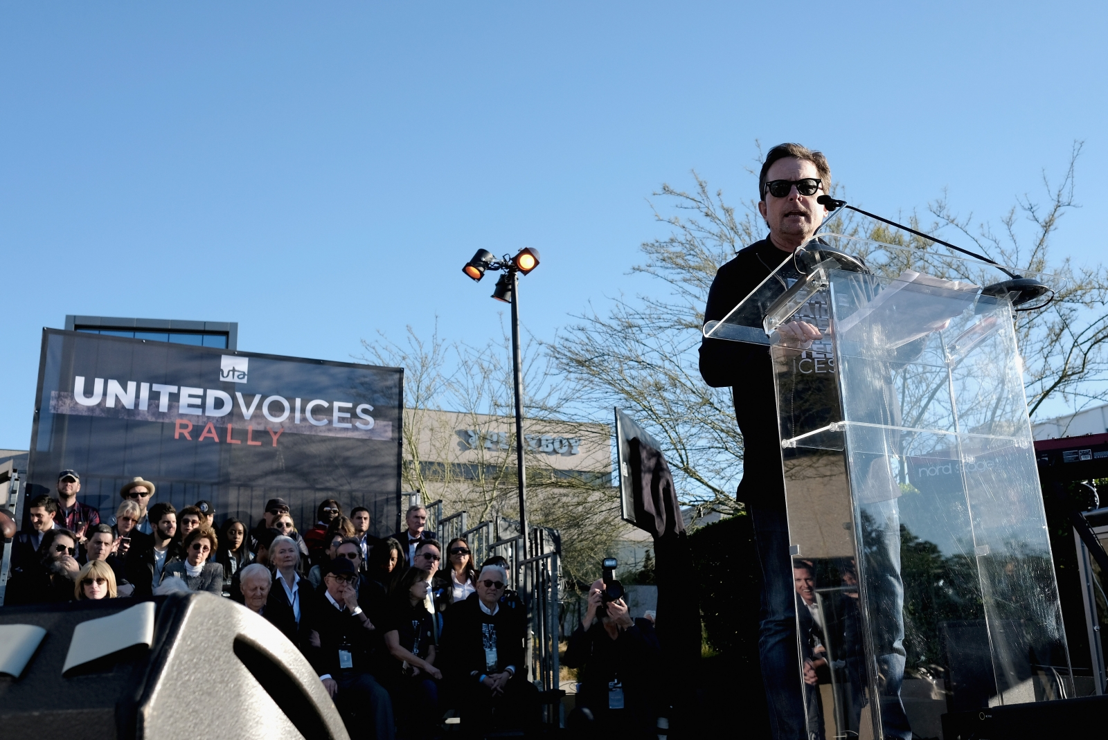 Michael J. Fox speaks at United Voices Rally