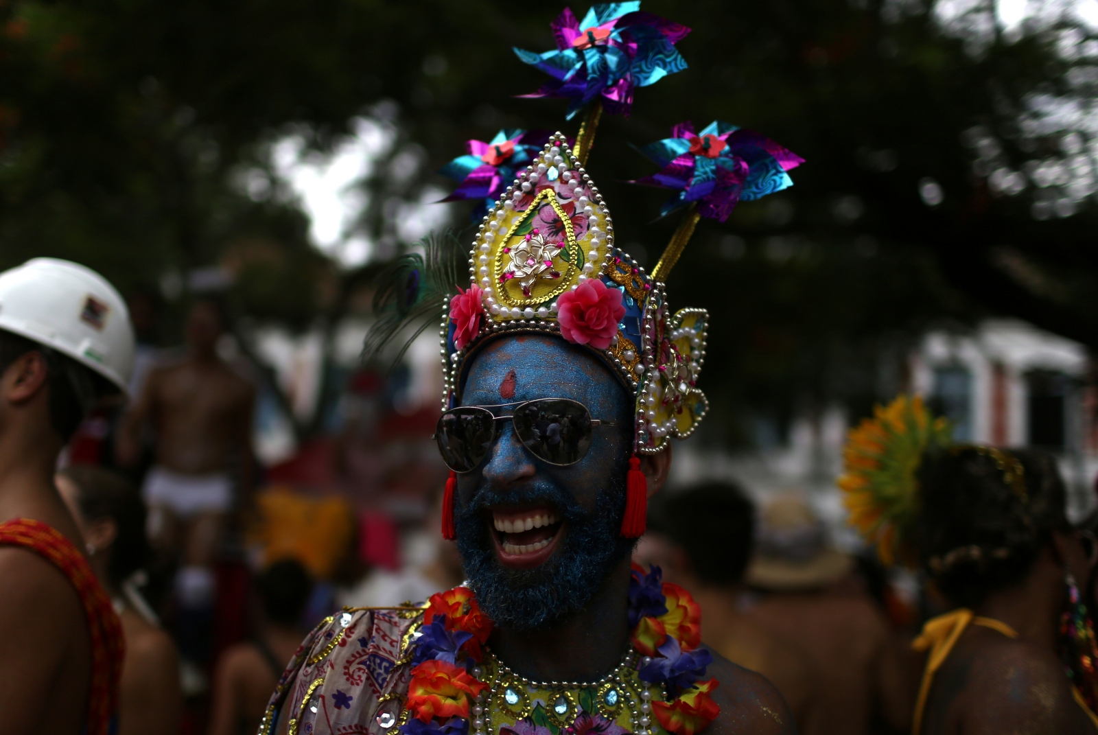 The annual carnival is famed for outlandish costumes and samba parades