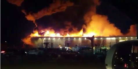 Shopping centre fire in Oderzo, Italy