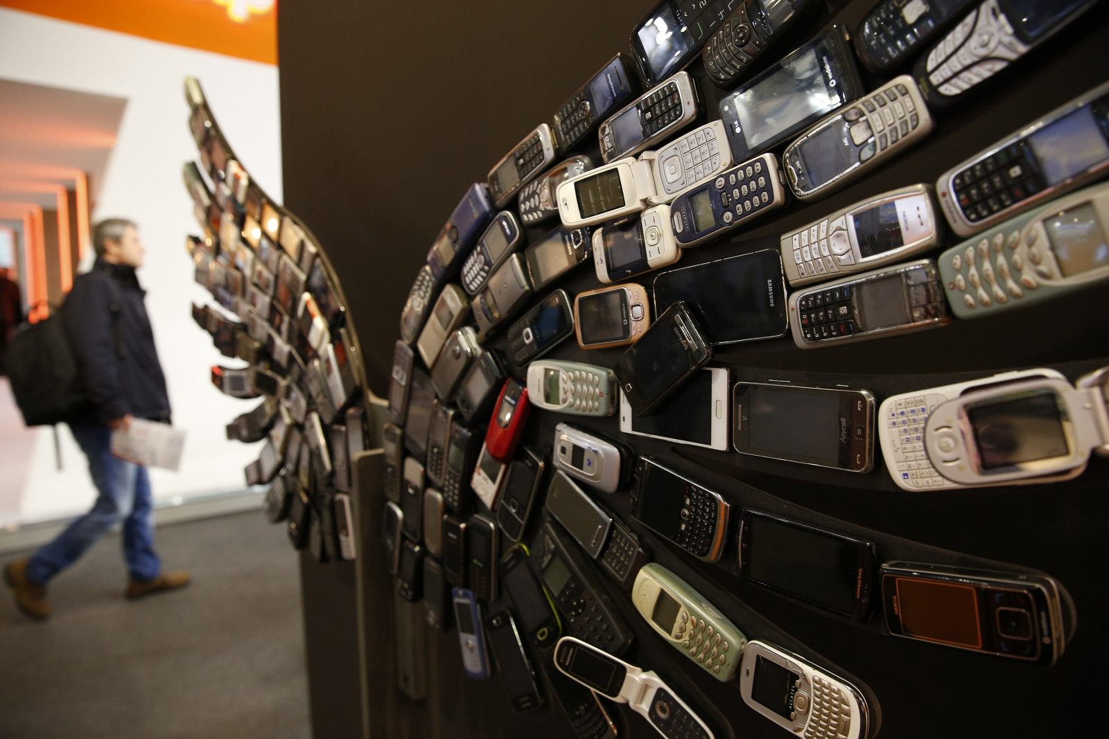 Artwork of old mobile phones at MWC2017