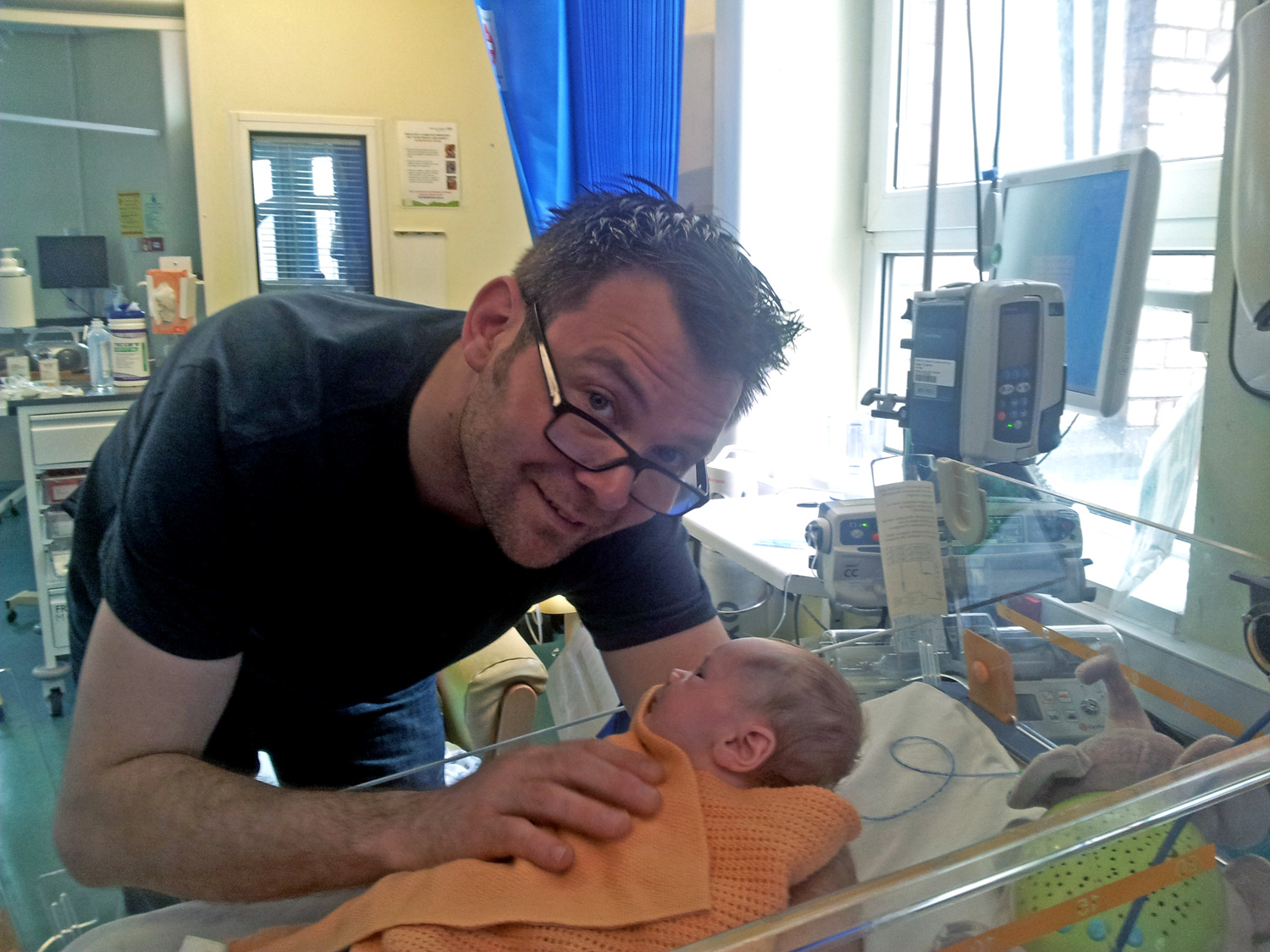 Ben Ryan and Sol in the hospital