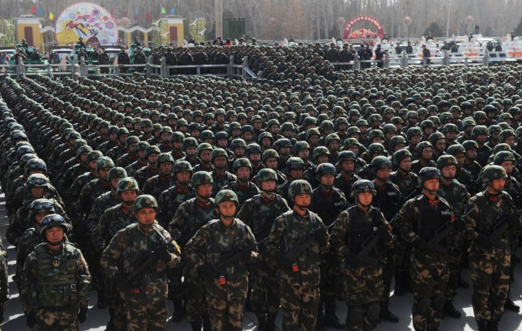 Paramilitary policemen stand in formation