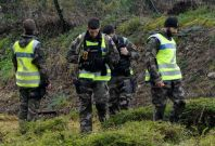 French Gendarmes take part in search operations looking for the Troadec family, missing since February 16,
