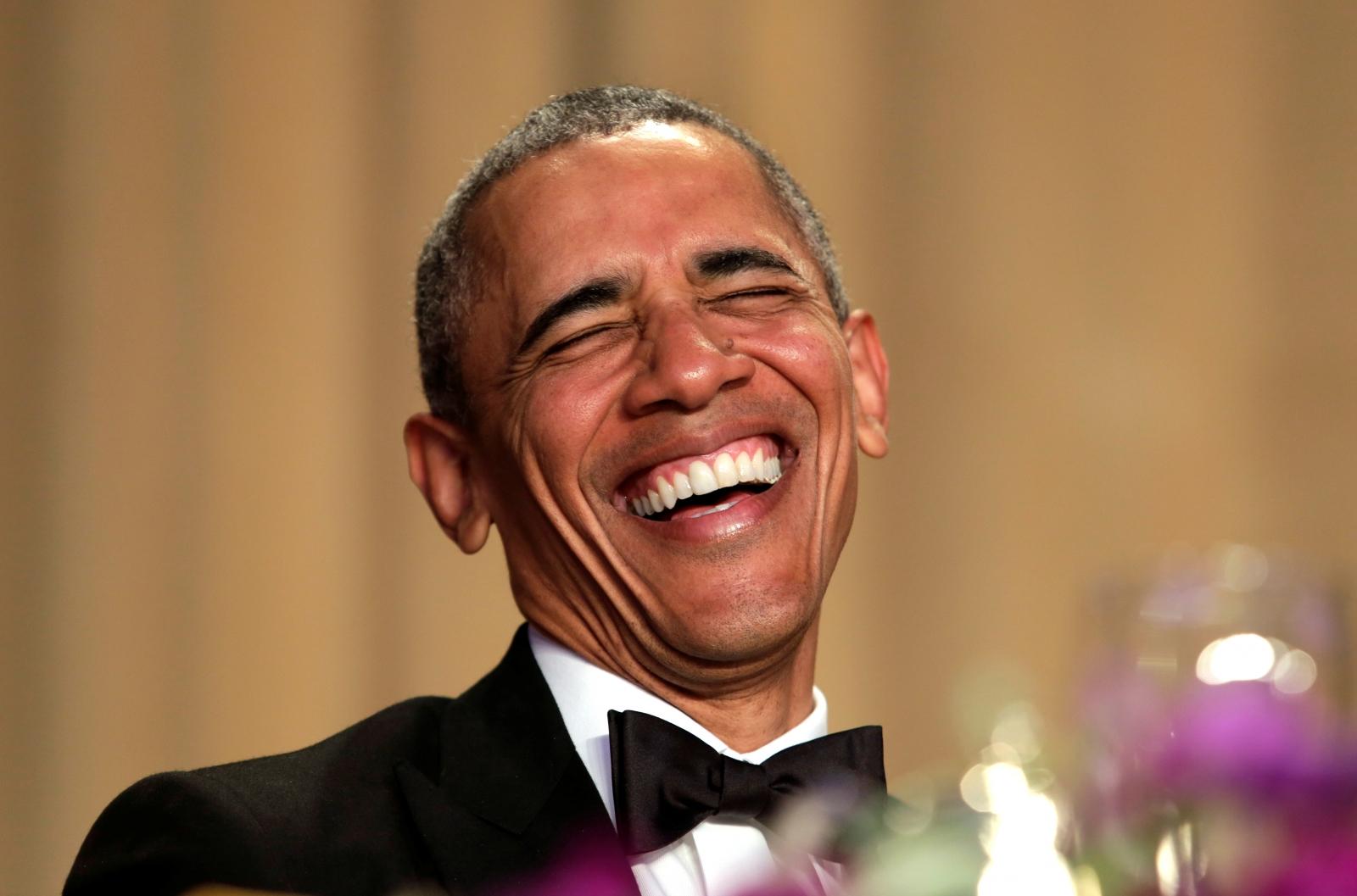 Barack Obama laughing