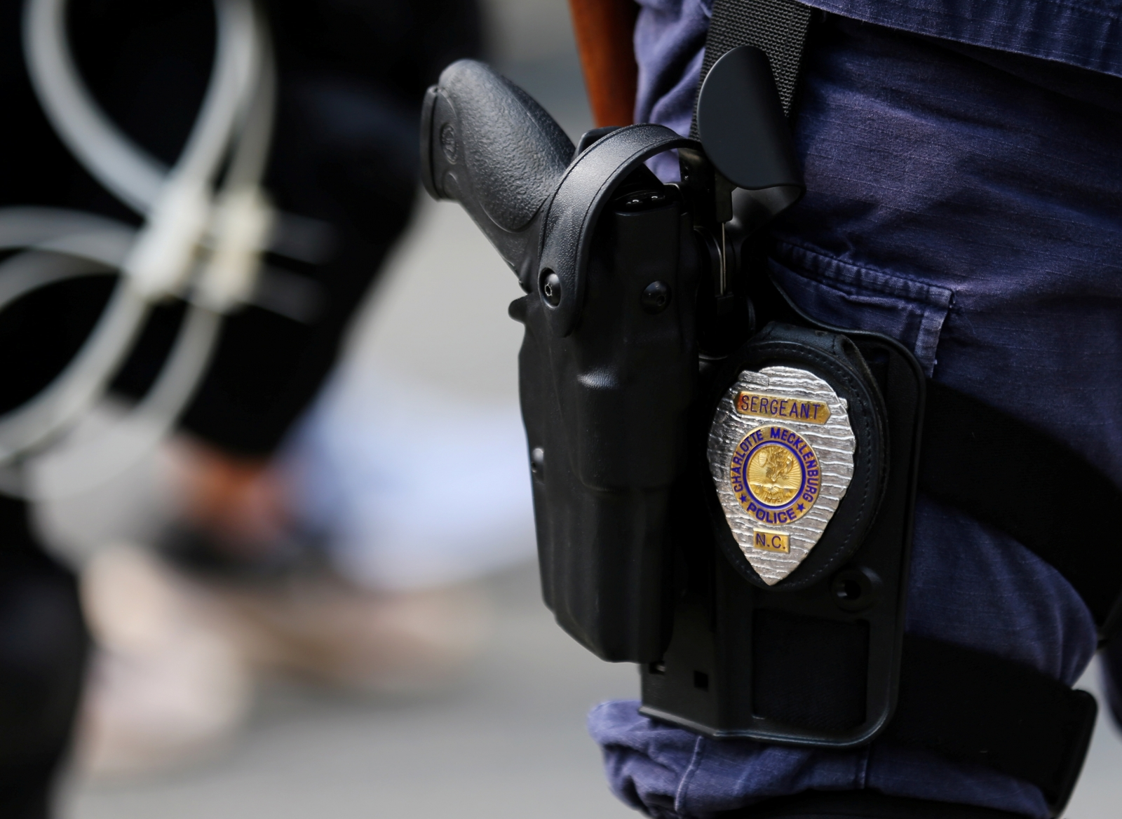 Badge and gun of North Carolina police