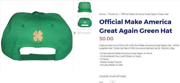 Wrong clover for Trump cap