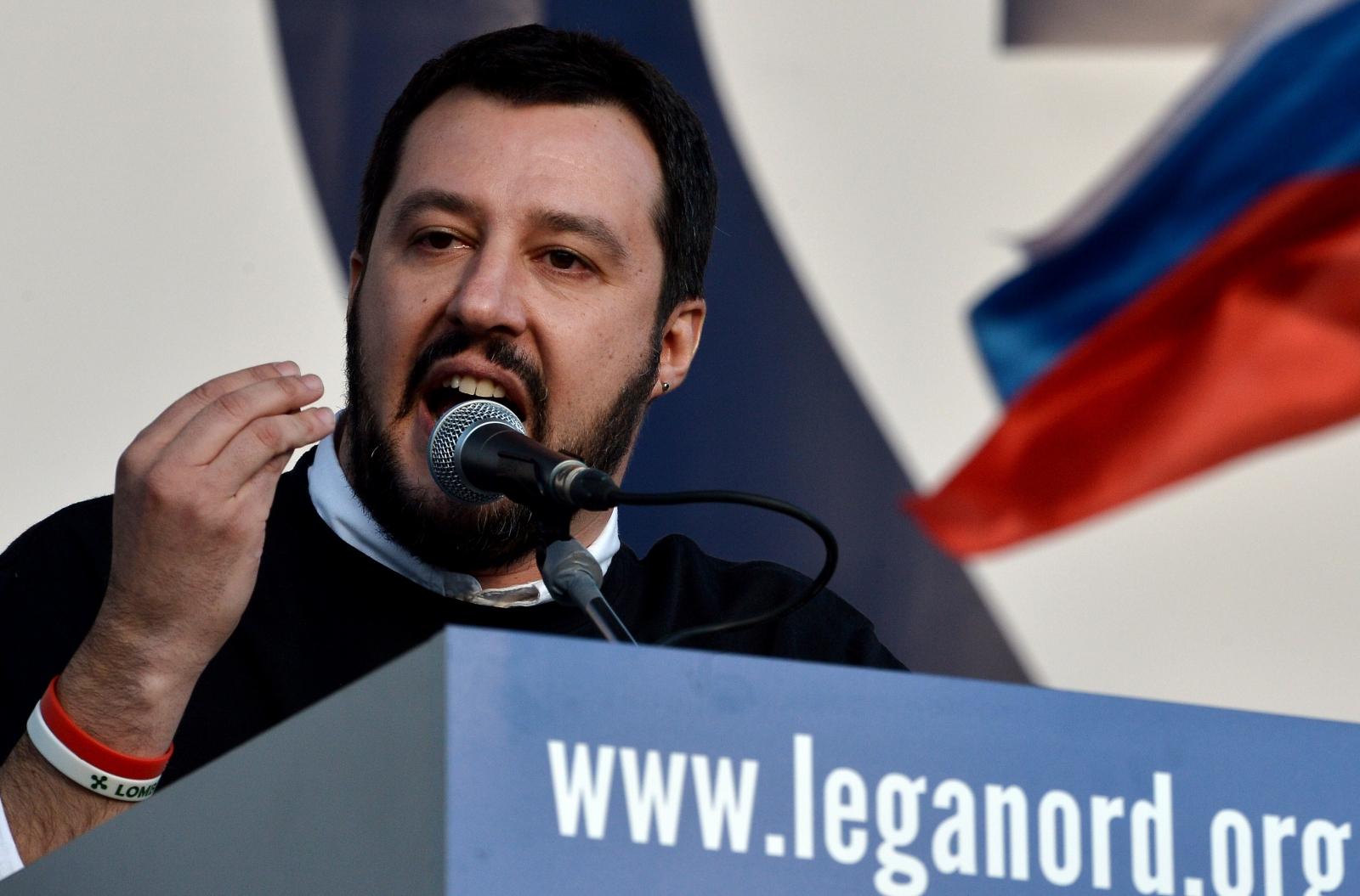 Matteo Salvini at a rally