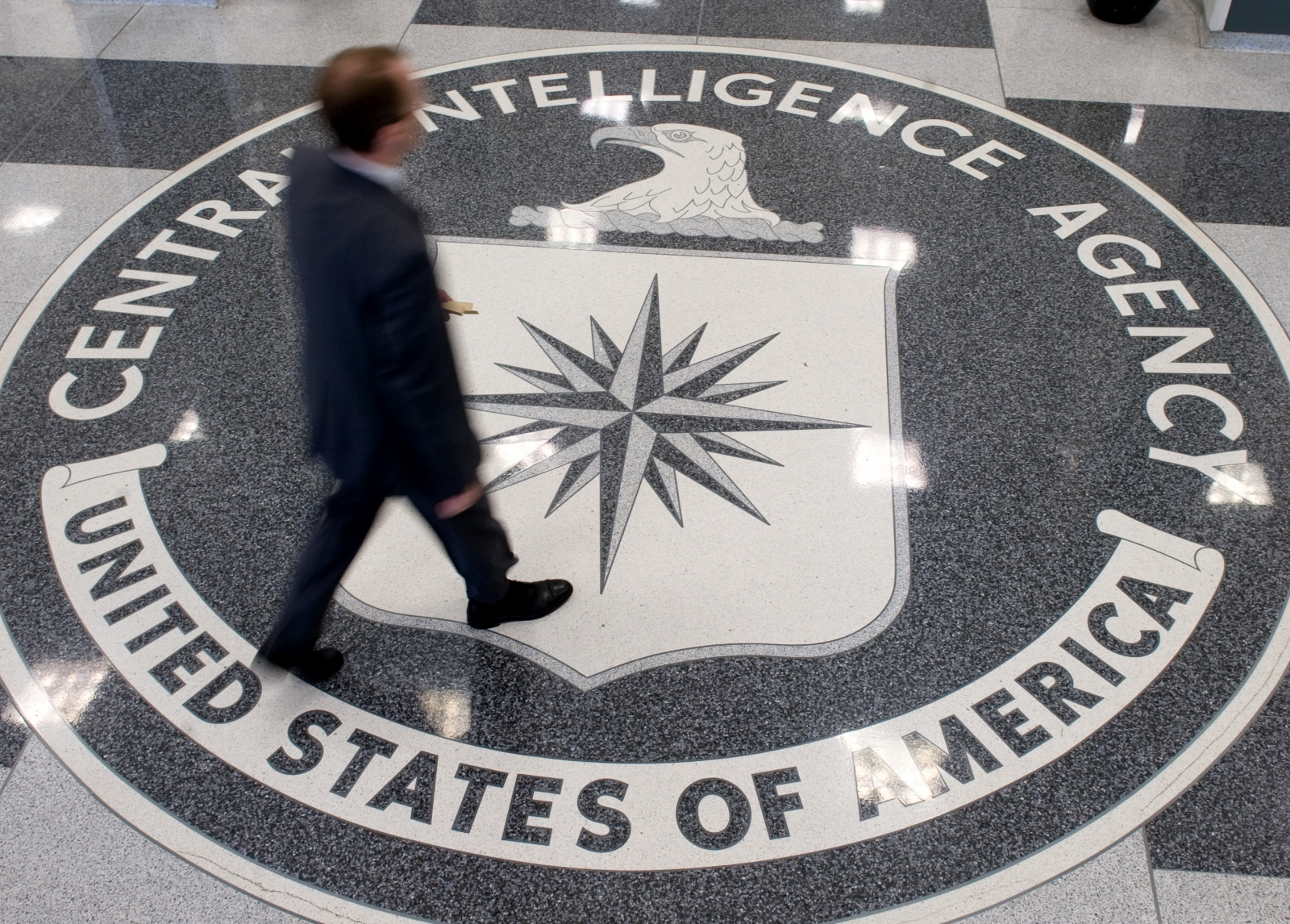 CIA man walking over crest