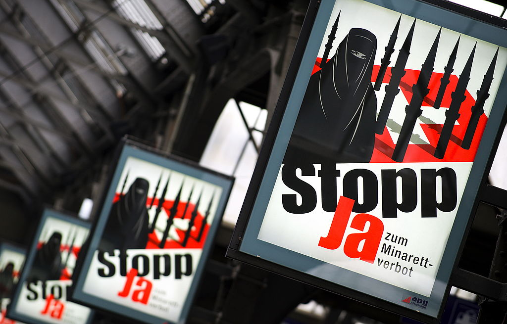 Campaign posters of the far-right Swiss People's Party