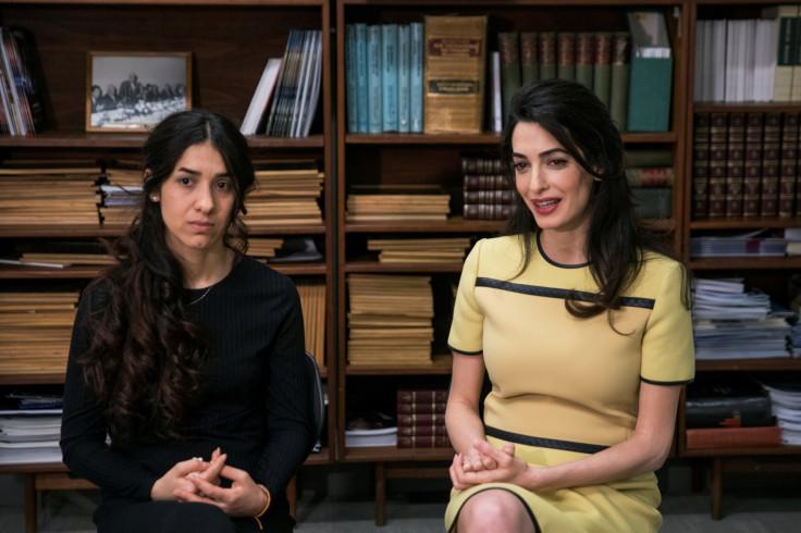 Yazidi survivor Nadia Murad with Amal Clooney