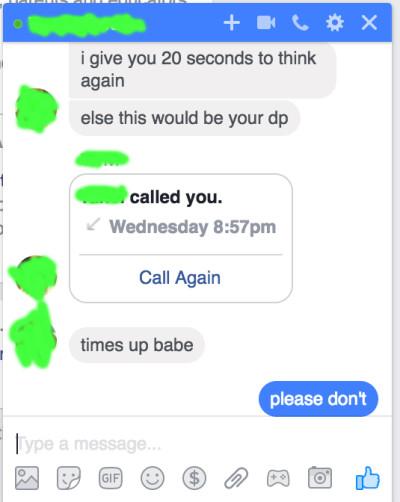 Sextortion messages received by Reddit user Zedevile