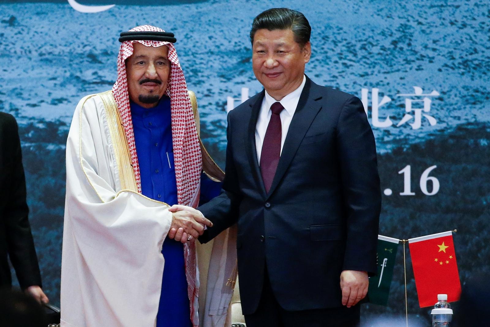 China's President Xi Jinping  and Saudi Arabia's king Salman bin Abdulaziz Al-Saud