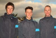 Joshua Edmondson, Bradley Wiggins and Chris Froome