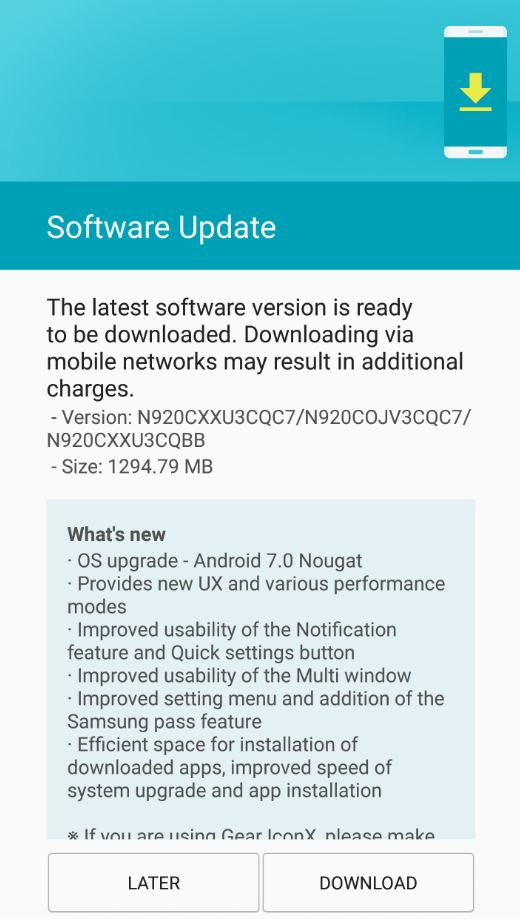 Galaxy Note 5 Android Nougat update