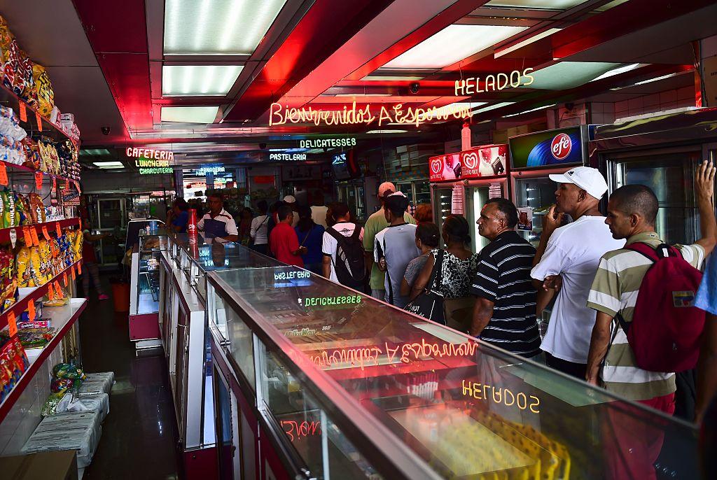 Customers queue for bread in Venezuelan capital