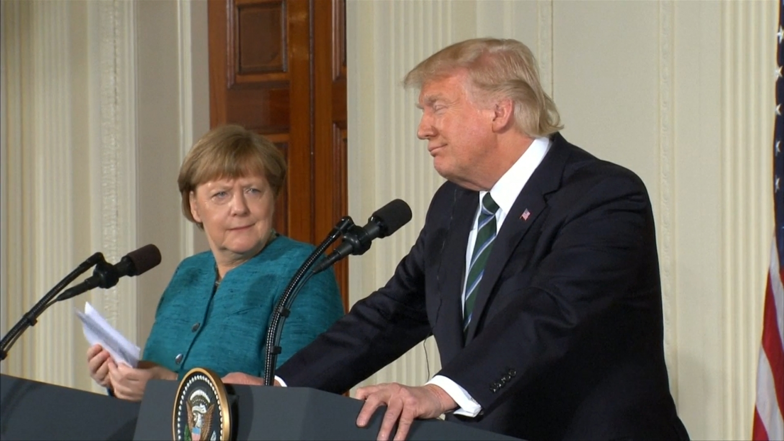 Trump jokes to Merkel about wire tapping