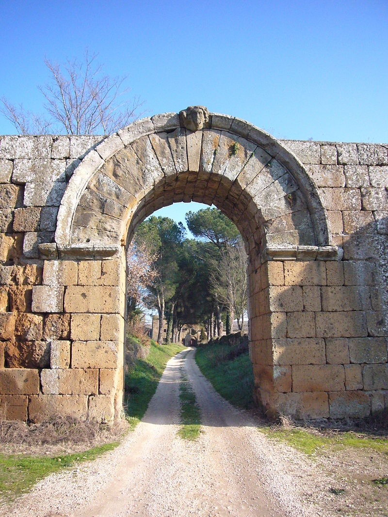 Entrance to the Roman colony of Falerii Novi, where a large temple has been excavated