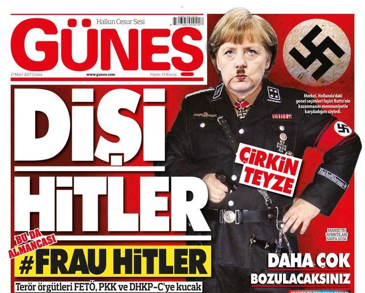 Güneş newspaper Merkel Hitler