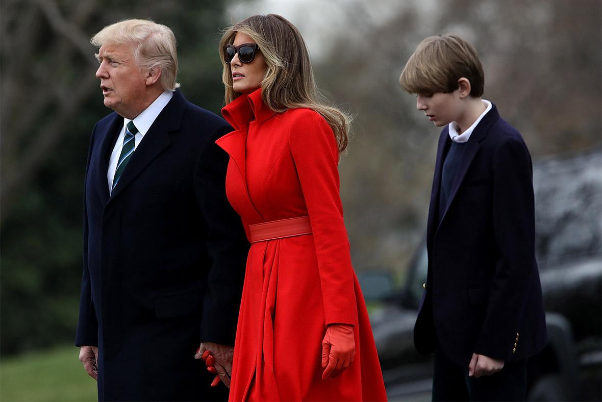 President Donald Trump, First Lady Melania Trump and son Barron Trump ...