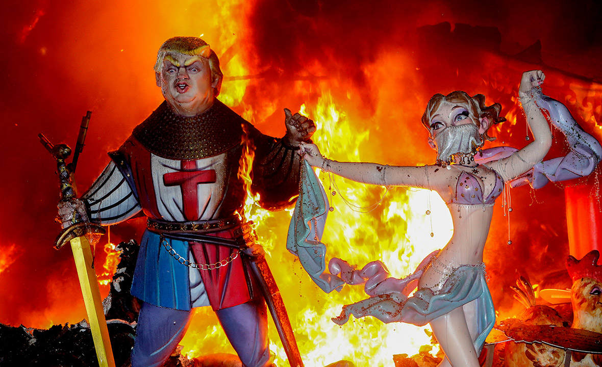 Effigies of Donald Trump burned to the ground at Spain's Las Fallas