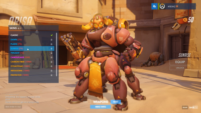 Overwatch Orisa sunrise skin