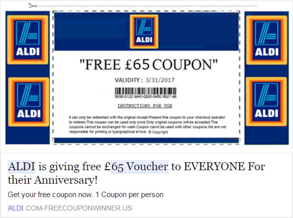 Fake Aldi voucher