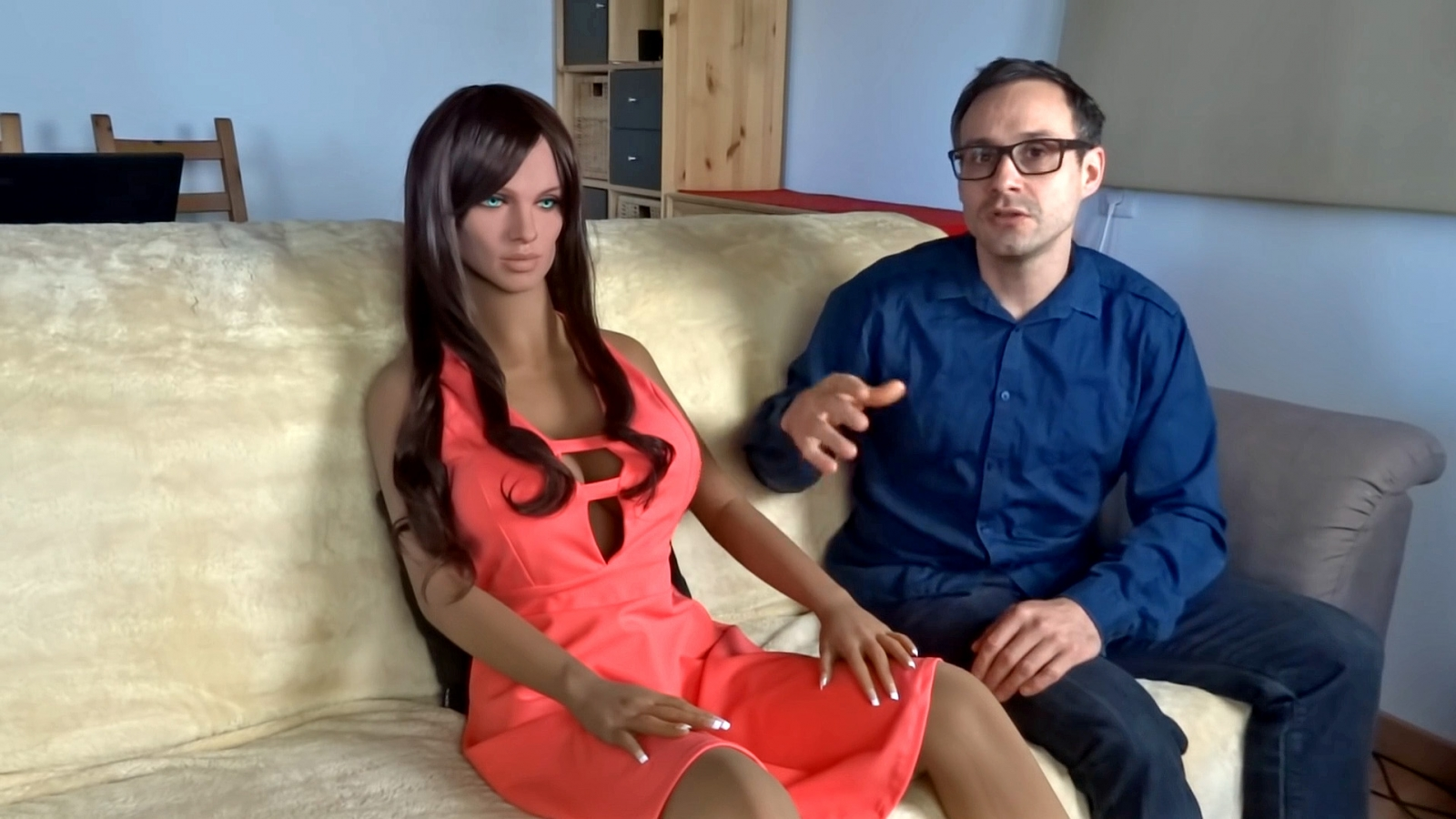 Sex robot Samantha and inventor Sergi Santos