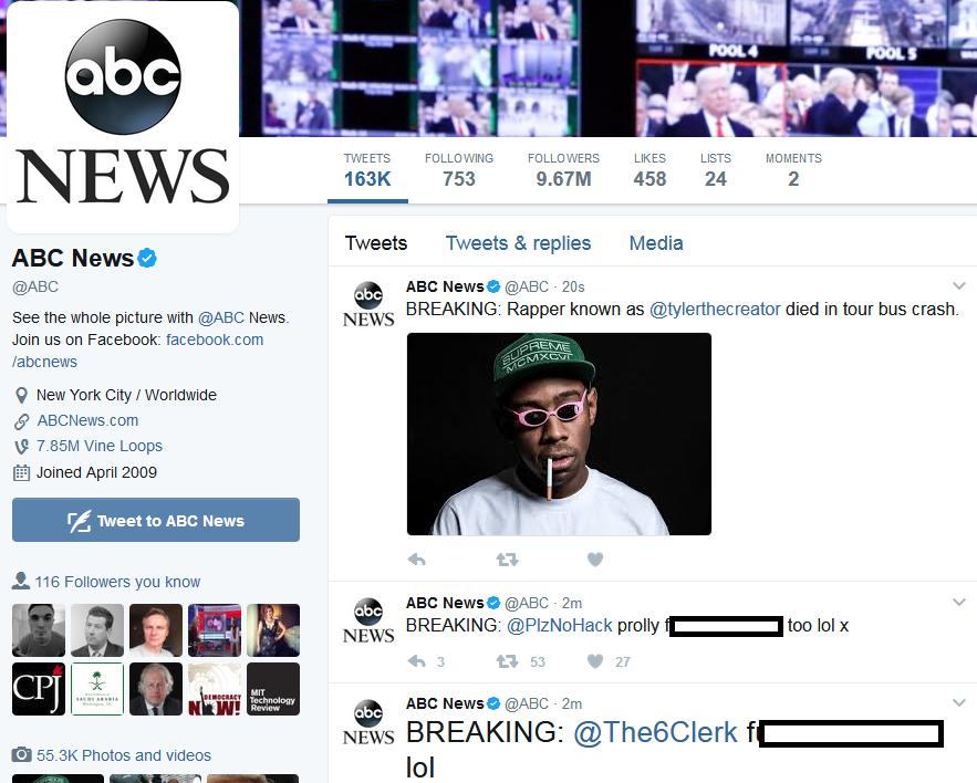ABC news hacked