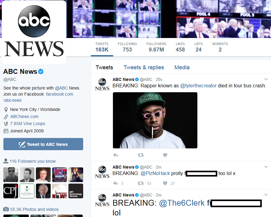 ABC news hacked
