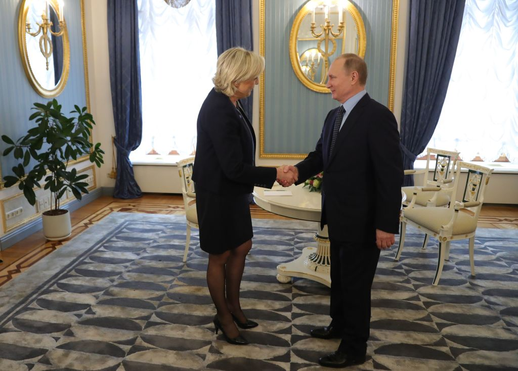 Russian President Vladimir Putin meets with French presidential election candidate for the far-right Front National (FN) party Marine Le Pen at the Kremlin in Moscow