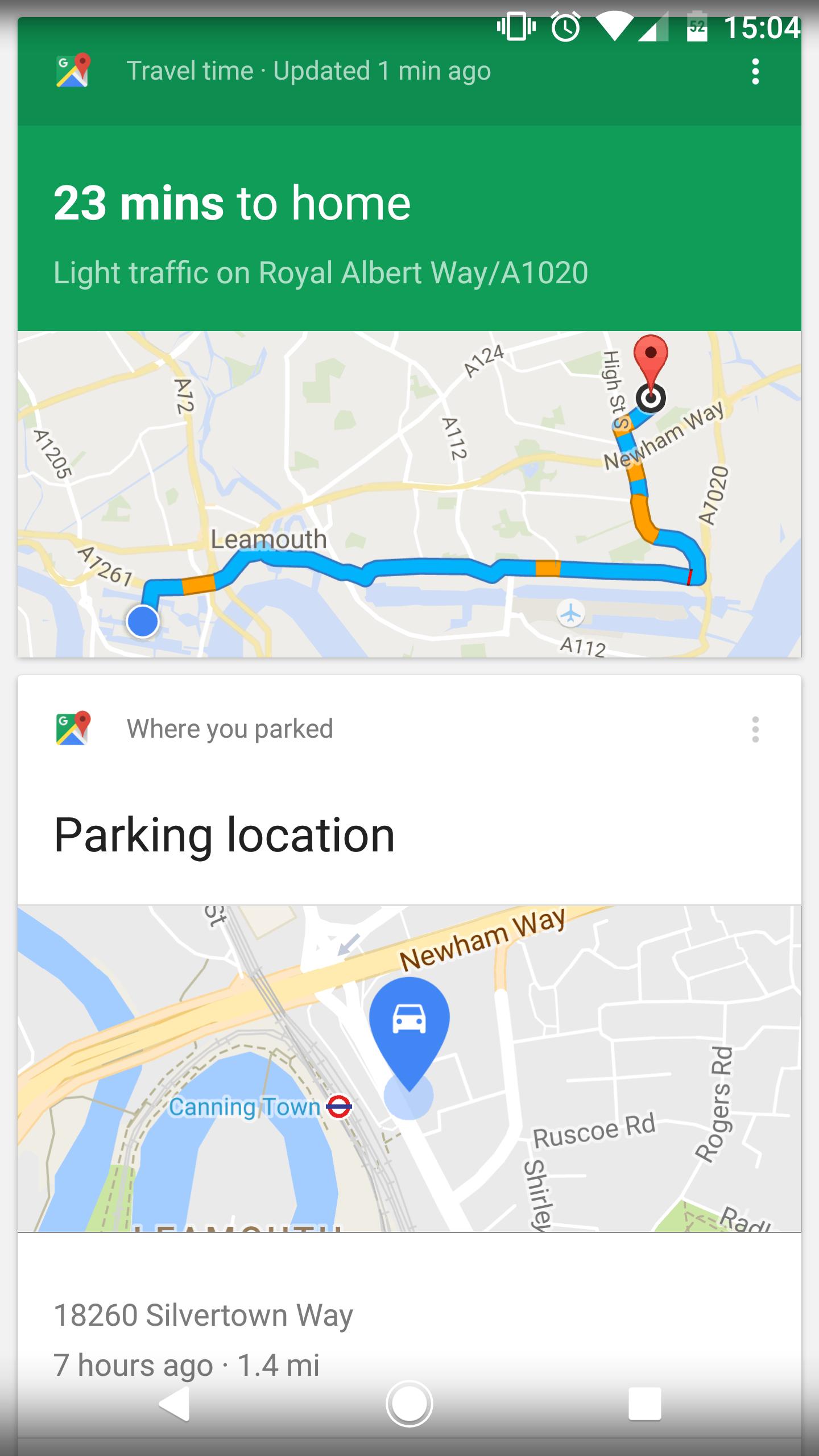 Google Maps parked car