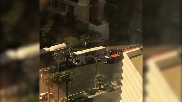 Las Vegas strip closed as gunman opens fire on bus