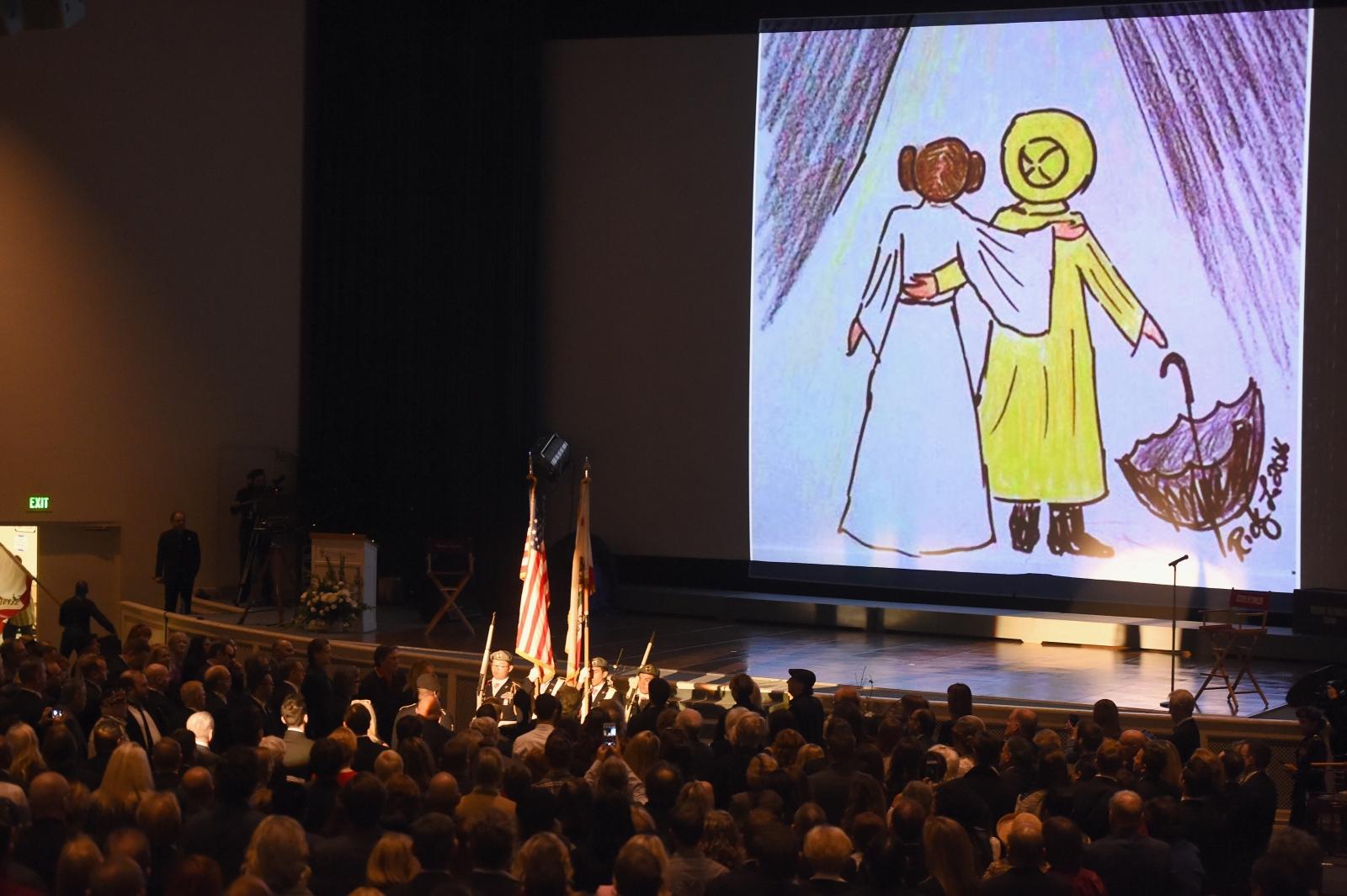 Carrie Fisher Debbie Reynolds public memorial service