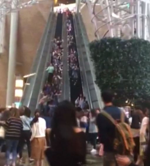 Hong Kong escalator reverses without warning