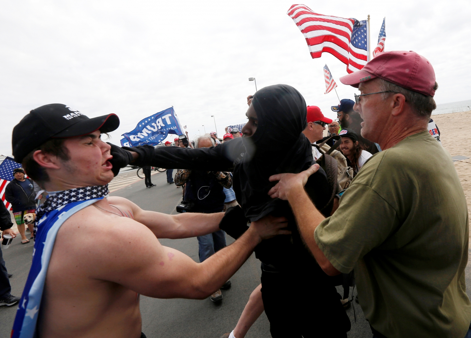 Violent Clashes In California After Pro Trump Rallies