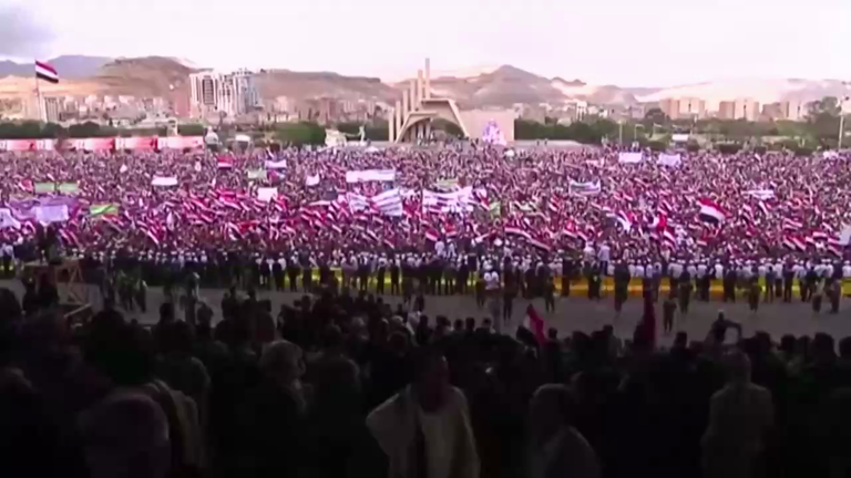 Yemenis rally in Sana'a to mark second anniversary of war
