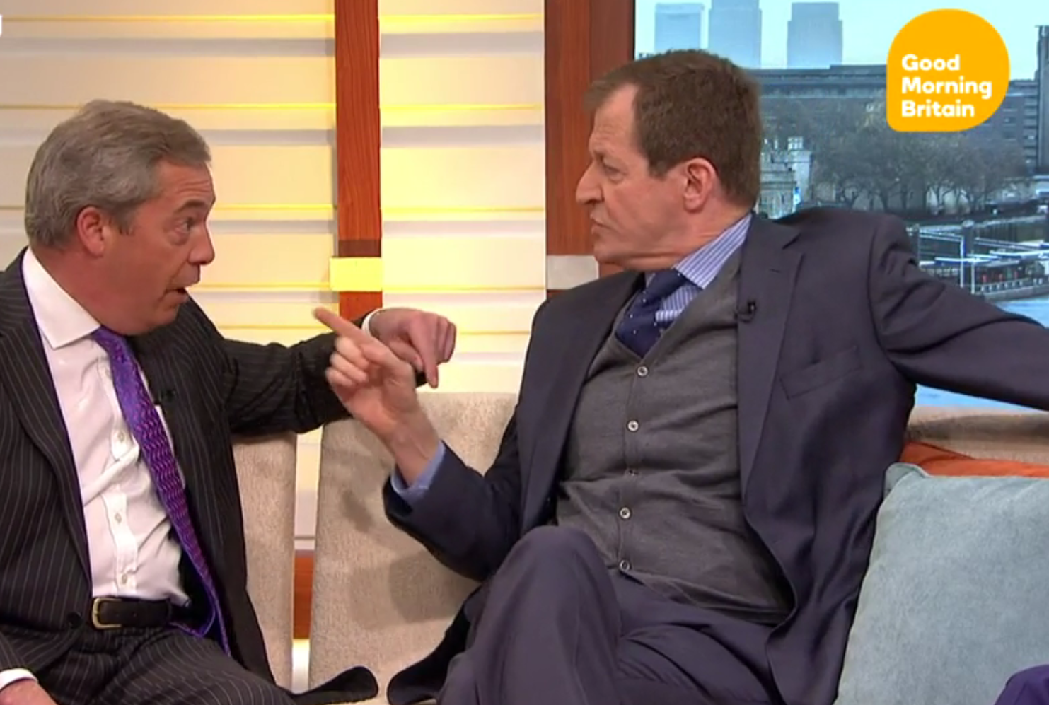 Nigel Farage and Alastair Campbell