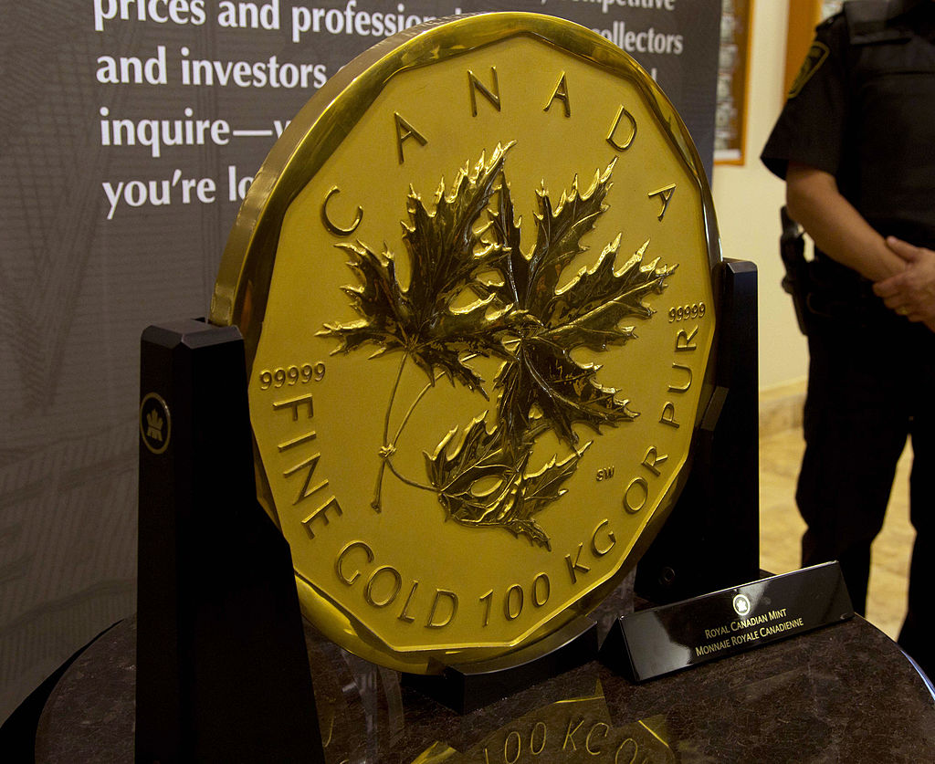 The coin was minted in Canada, andhelda