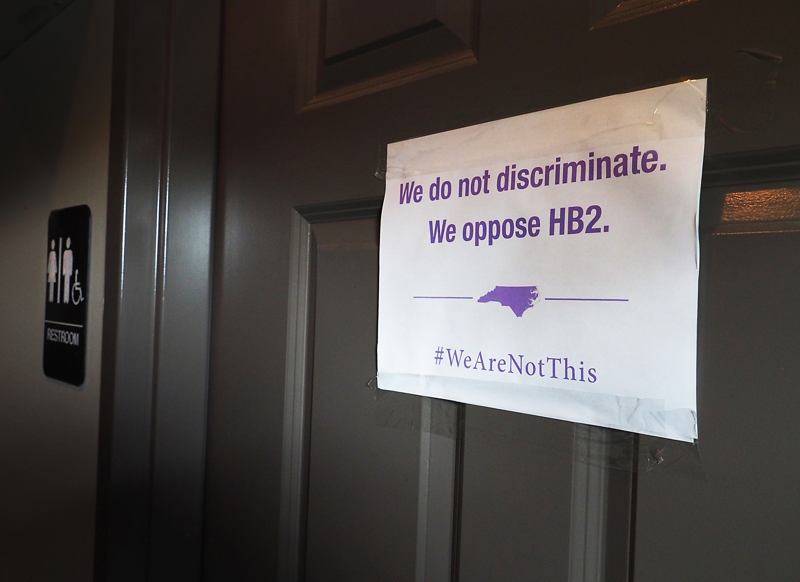 Sign protesting North Carolina's Bathroom Bill