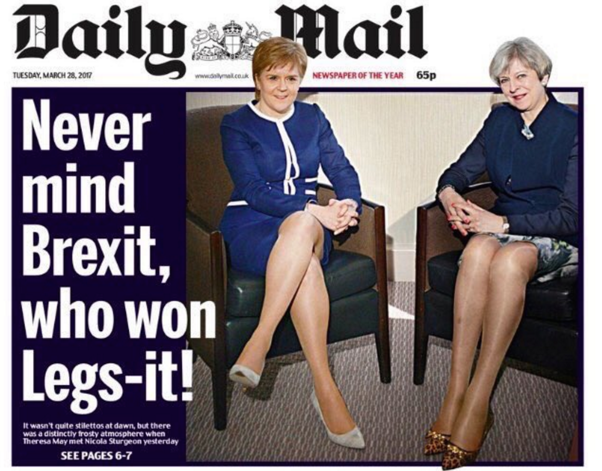 Legs-it: 'Sexist' Daily Mail front page condemned by thousands on social media