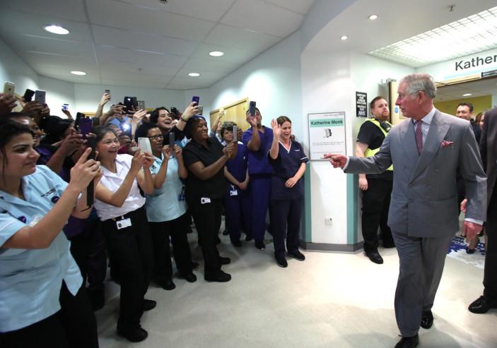 Prince Charles meets hospital staff
