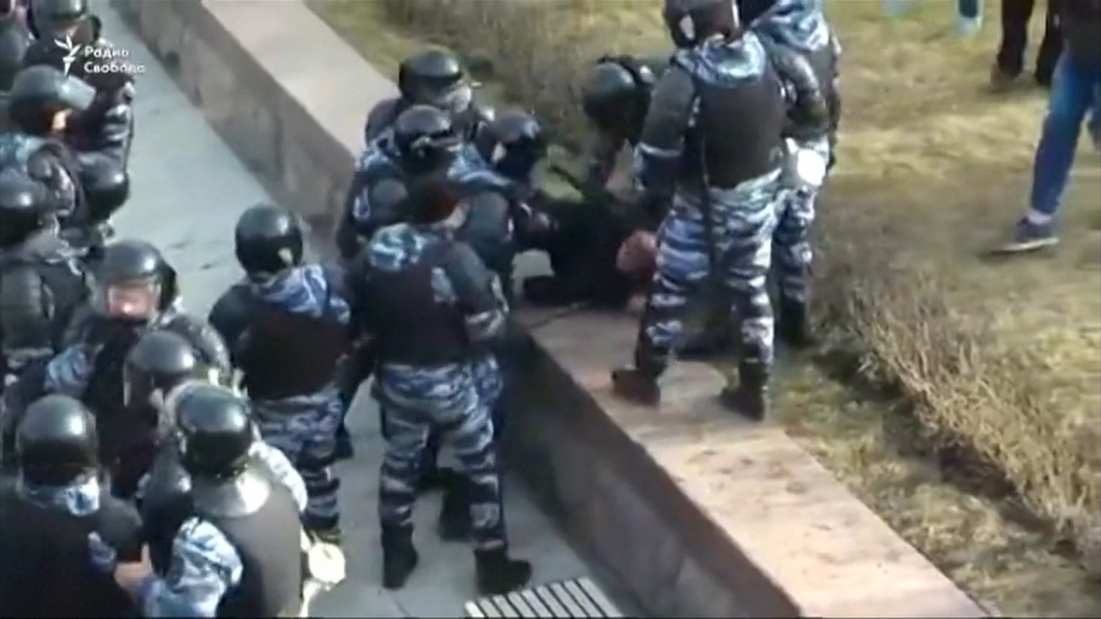 Police in Moscow beat protester at anti-corruption rally