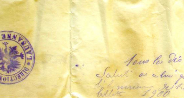 A note contained inside the capsule