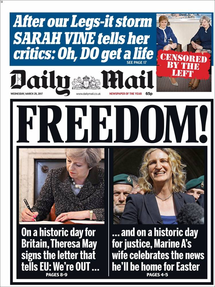 Brexit front pages