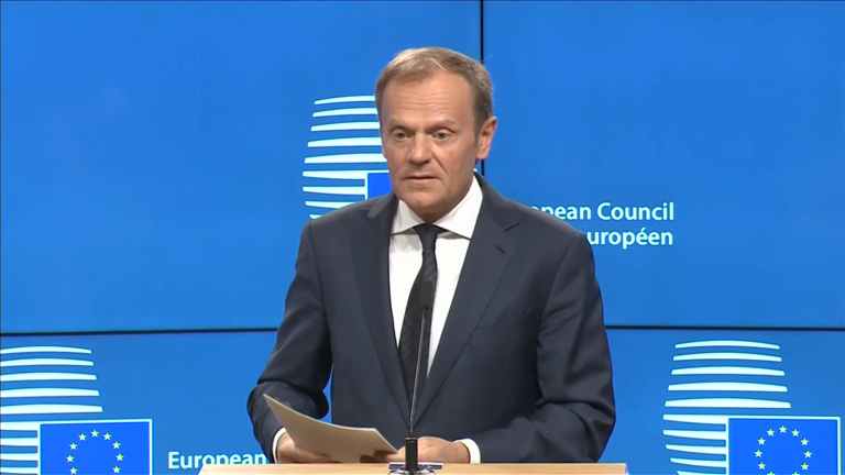 'We miss you already': EU's Donald Tusk accepts Brexit notice